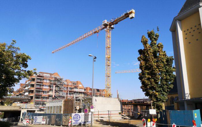 Baustelle der Neuen Porzer Mitte, Oktober 2019